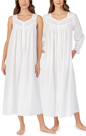 Peignoir Set by Eileen West - Cotton Sleeveless Gown and Robe in Damsel White