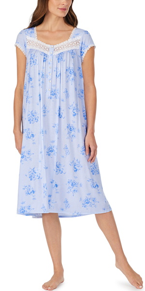 Eileen West Modal Knit Nightgown - Mid-length Cap Sleeve in Peri Pansies