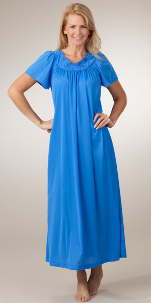 Shadowline Petals Long Sapphire Night Gown with Flutter Sleeves