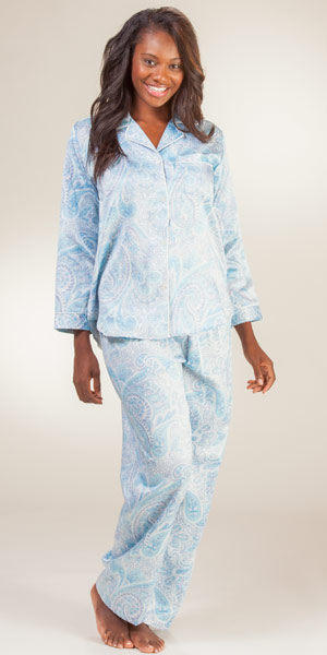 Flannel Lined Satin Pajamas Breeze Clothing