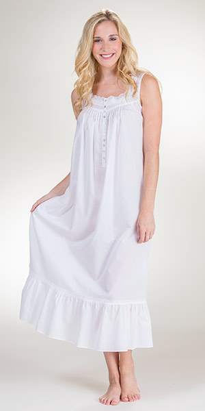 P Jamas Dandelion Sleeveless Short Pima Cotton Nightgown Details P Jamas